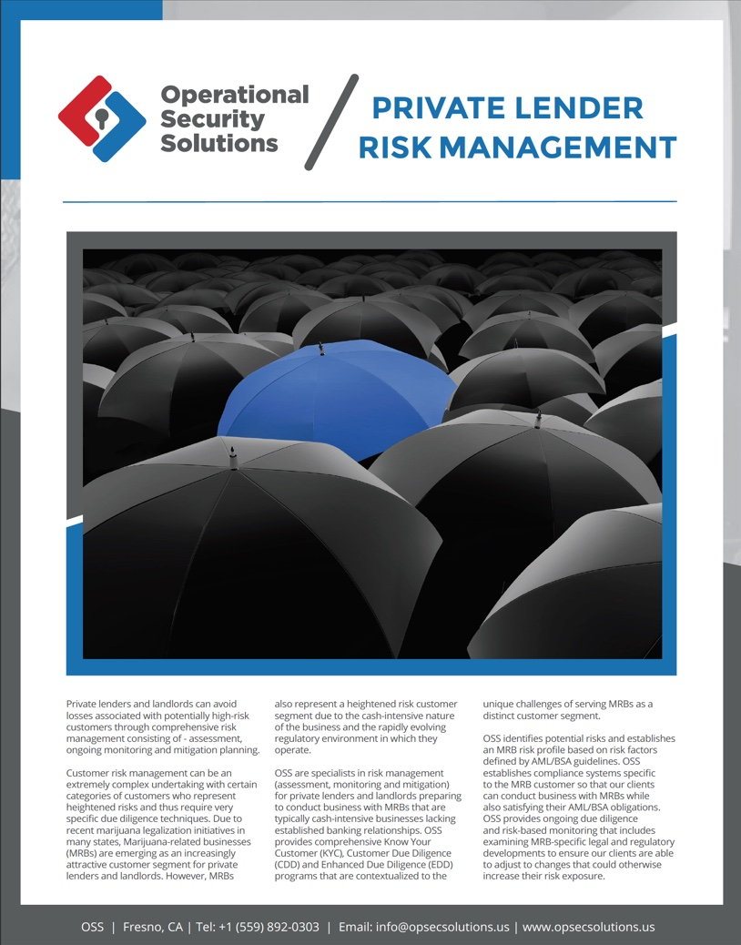 Private Lender Risk Management